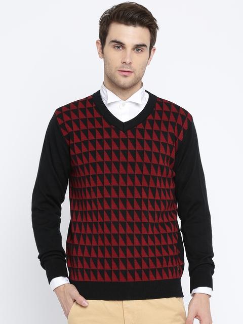 Raymond Men Black & Red Self Design Pullover