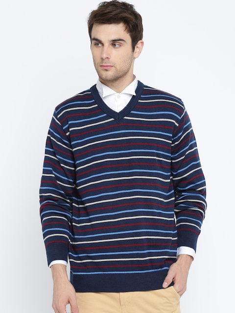 Raymond Men Blue & Red Striped Pullover