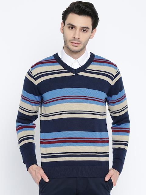 Raymond Men Blue & Beige Striped Pullover
