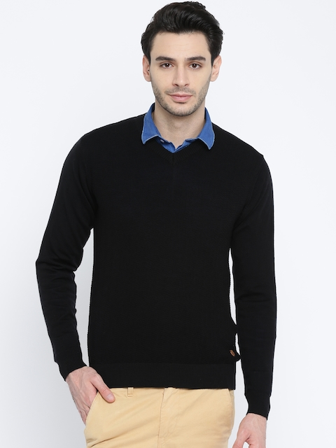 Raymond Men Black Patterned Woollen Sweater