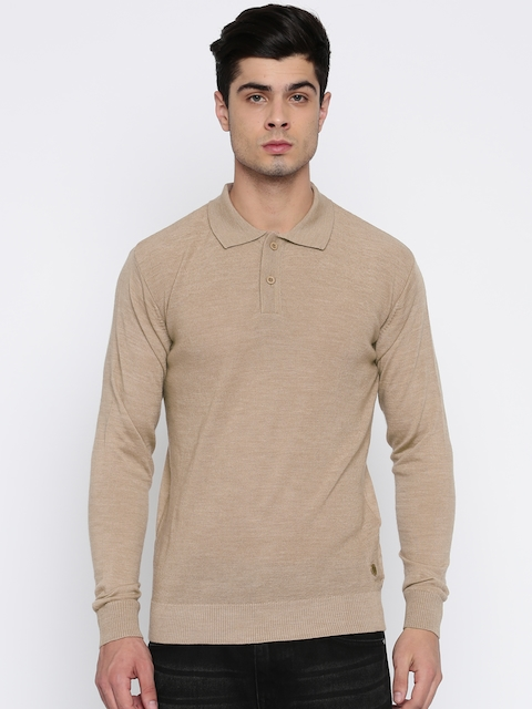 Raymond Men Beige Solid Pullover Sweater