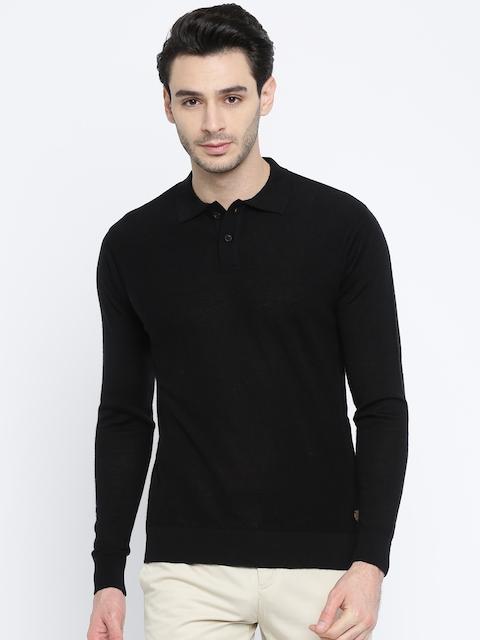 Raymond Men Black Solid Woollen Pullover