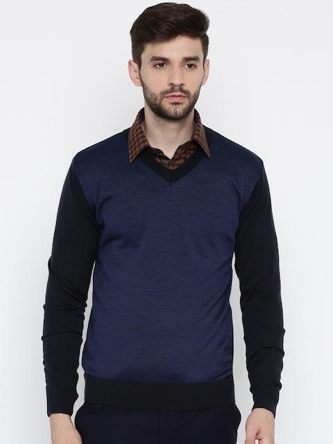 Raymond Men Blue & Black Solid Pullover