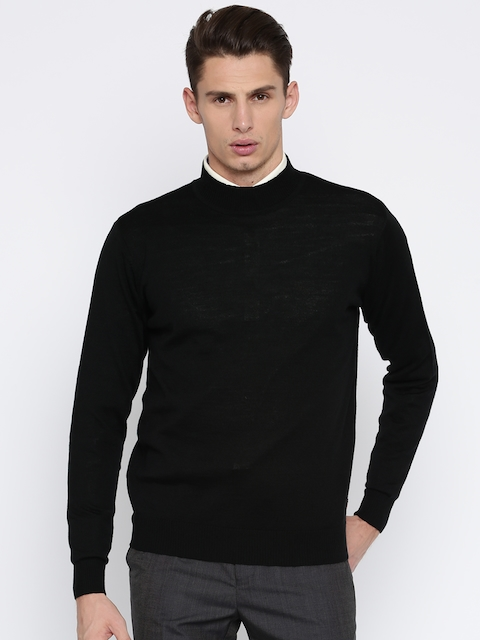 Raymond Men Black Solid Pullover Sweater
