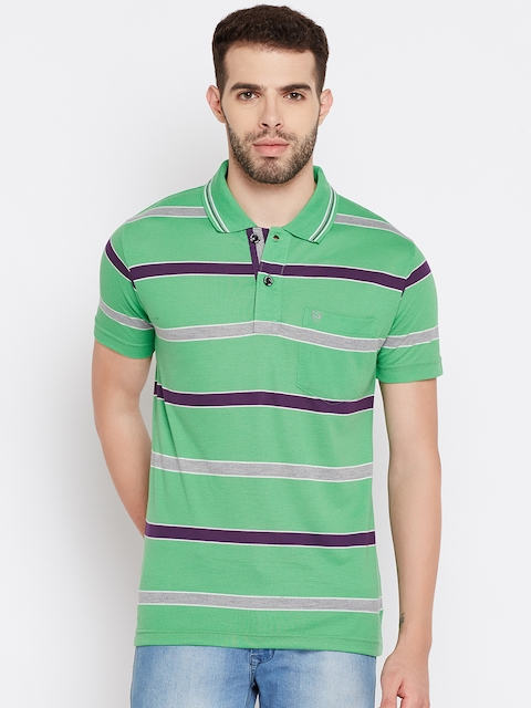 Duke Men Green Striped Polo Collar T-shirt  available at myntra for Rs.356