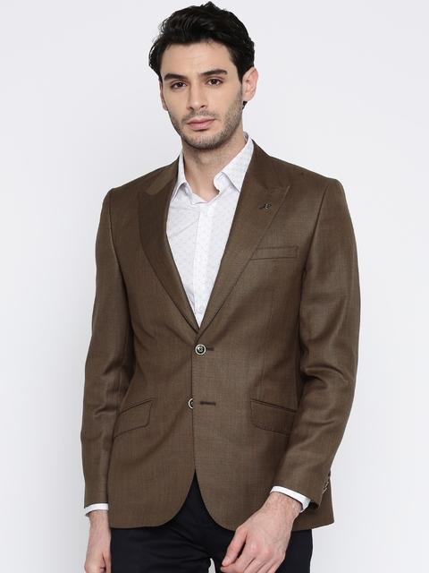 Park Avenue Men Brown Solid Italian Cut Single-Breasted Formal Blazer