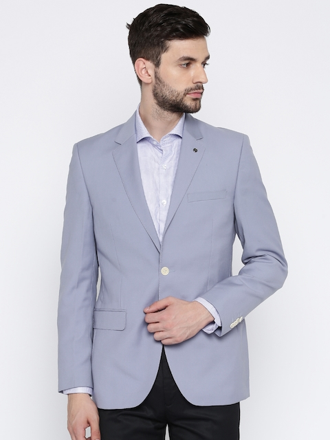 Park Avenue Men Blue Solid Single-Breasted Contemporary Fit Formal Blazer