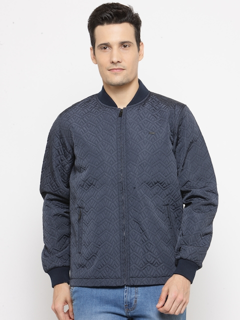 Parx Men Navy Blue Solid Quilted Jacket