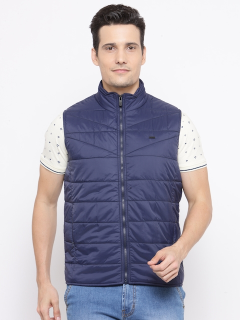 Parx Men Navy Blue Solid Sleeveless Quilted Jacket