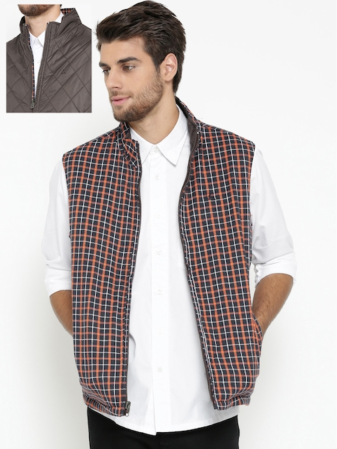 Parx Men Coffee Brown & Navy Checked Reversible Padded Jacket