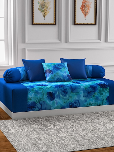SWAYAM Blue Printed Diwan Set with Bolster & Cushion Covers