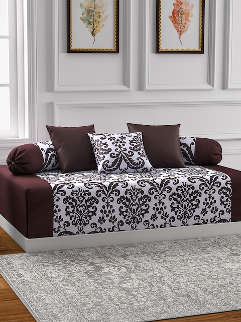 SWAYAM Brown & Off-White Printed Diwan Set with Bolster & Cushion Covers