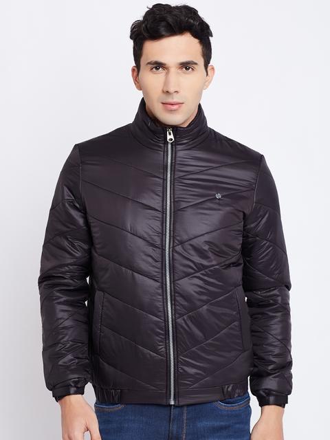 Duke Men Black Solid Quilted Jacket