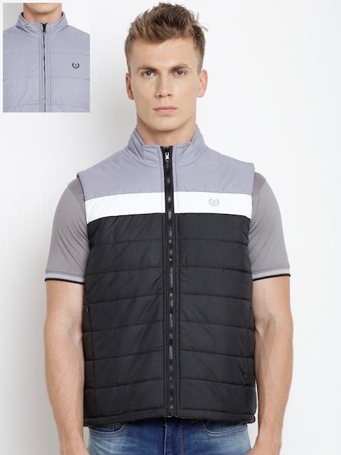 Duke Men Black & Grey Colourblocked Reversible Quilted Jacket