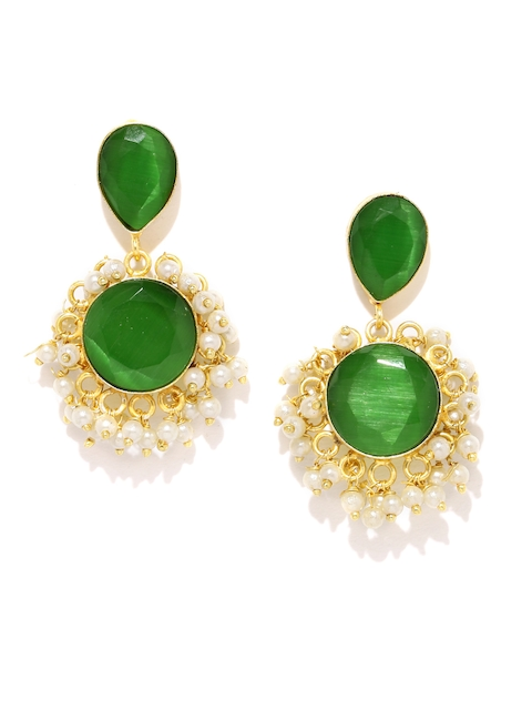 Rubans Gold-Toned & Green Handcrafted Circular Drop Earrings