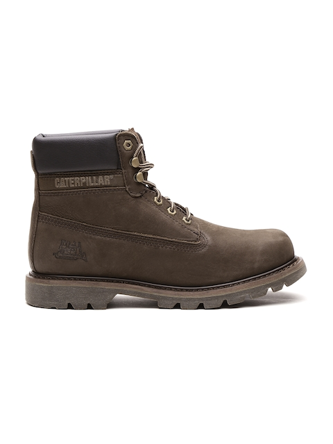 CAT Men Brown Solid Leather High-Top Flat Boots