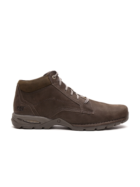 CAT Men Brown Solid Leather Mid-Top Flat Boots