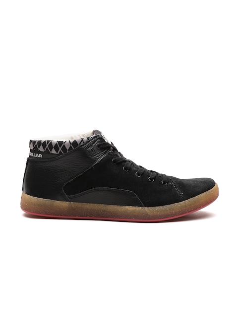 CAT Men Black Solid Suede Mid-Top Sneakers