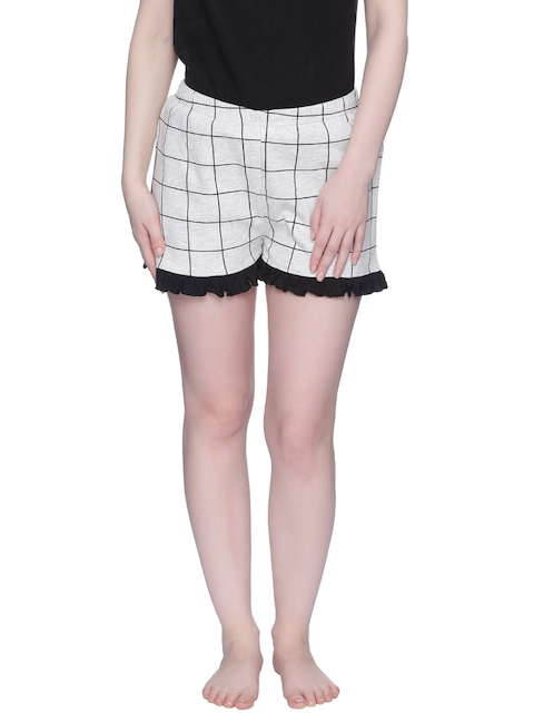 Zivame Women White Checked Lounge Shorts