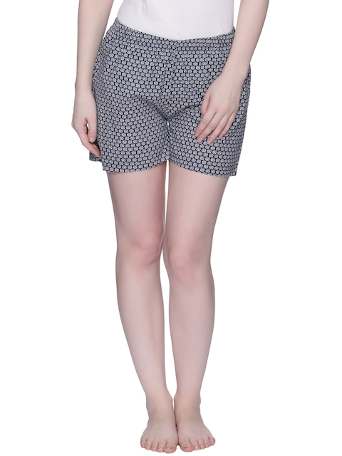 Zivame Women Navy Blue Printed Lounge Shorts