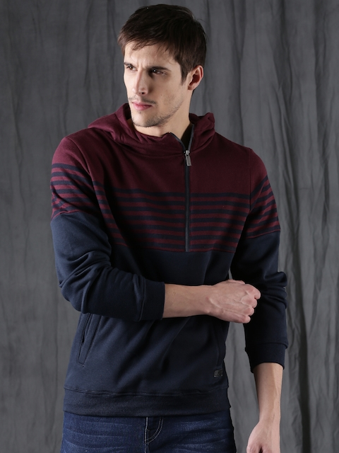 WROGN Men Maroon & Navy Blue Striped Hooded Sweatshirt