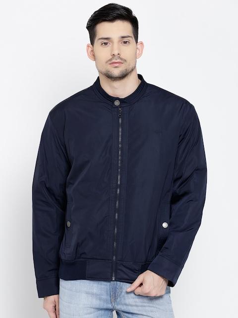 ColorPlus Men Navy Blue Classic Fit Solid Bomber Jacket