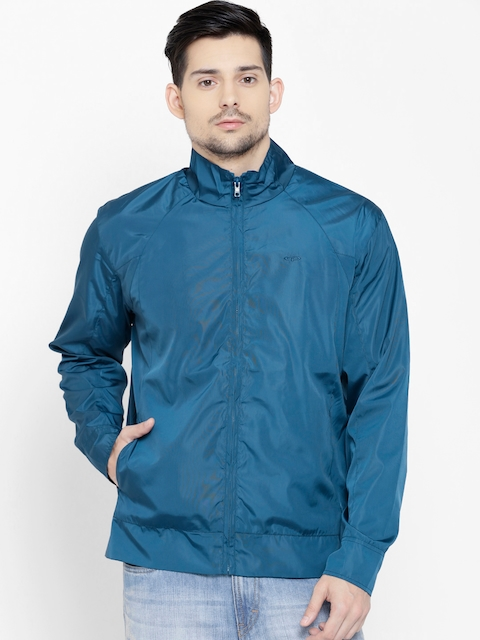 ColorPlus Men Teal Blue Classic Fit Solid Windcheater Jacket