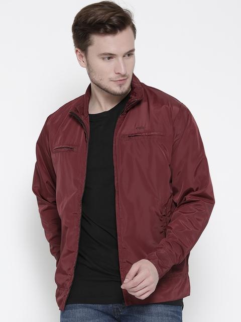 ColorPlus Men Maroon Solid Windcheater Jacket