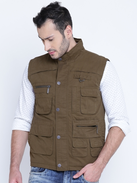 ColorPlus Men Olive Brown Solid Sleeveless Tailored Jacket