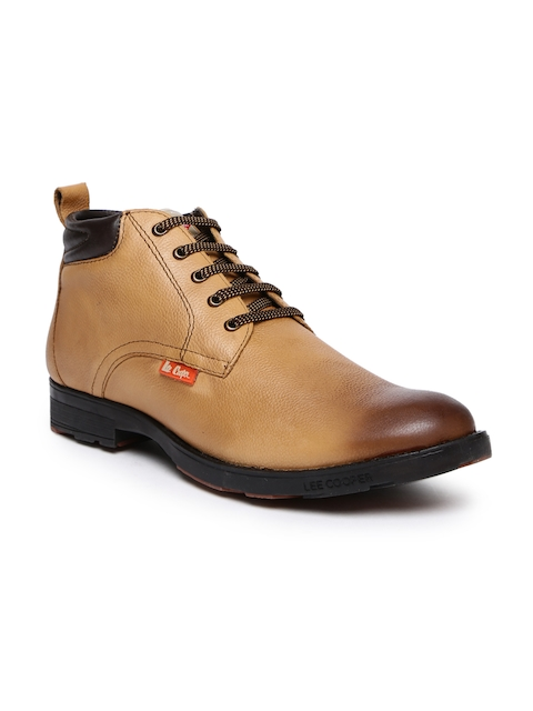 Lee Cooper Men Tan Solid Leather Mid-Top Flat Boots
