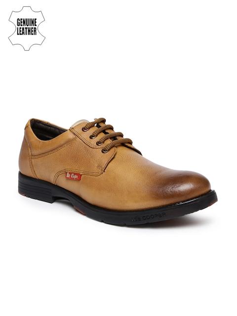 Lee Cooper Men Tan Brown Genuine Leather Semiformal Derbys