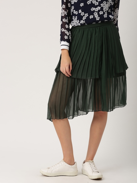 DressBerry Women Green Accordion Pleat Skirt  available at myntra for Rs.799