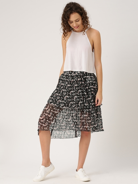 DressBerry Women Grey & Pink Accordion Pleat Printed Skirt  available at myntra for Rs.799
