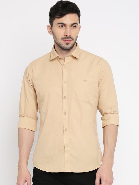Van Heusen Sport Men Beige Slim Fit Solid Casual Shirt