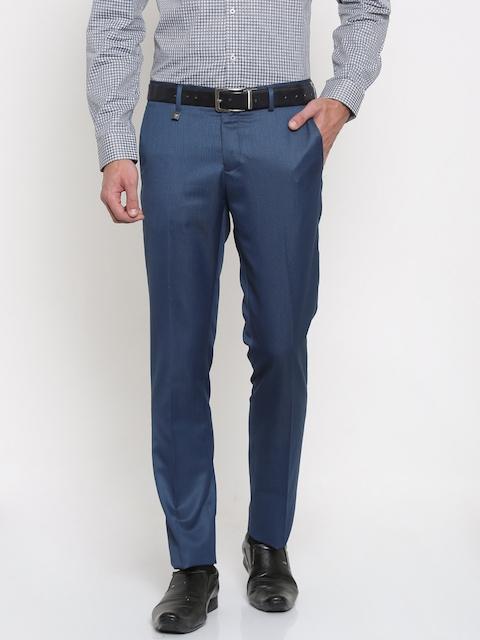 Van Heusen Men Blue Ultra Slim Fit Self Design Formal Trousers