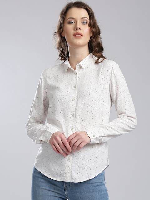 Levis Women White Regular Fit Printed Casual Shirt