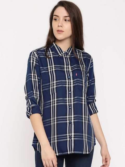 Levis Women Navy Blue & Off-White Regular Fit Checked Casual Shirt