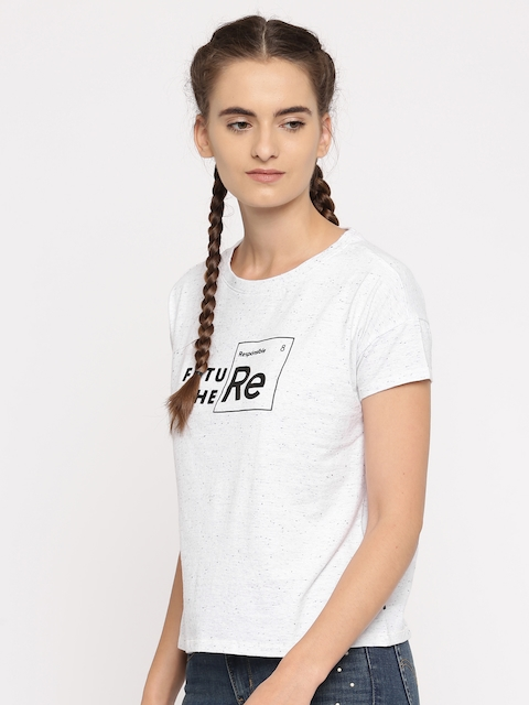 Levis Women White Printed Round Neck T-shirt