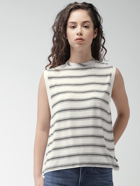 Levis Women White & Black Striped A-Line Top