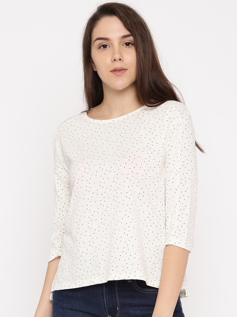 Levis Women White Printed T-shirt