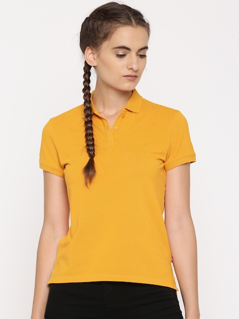 Levis Women Yellow Solid Polo T-shirt