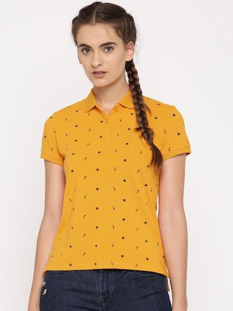Levis Women Mustard Yellow Printed Polo Collar T-shirt