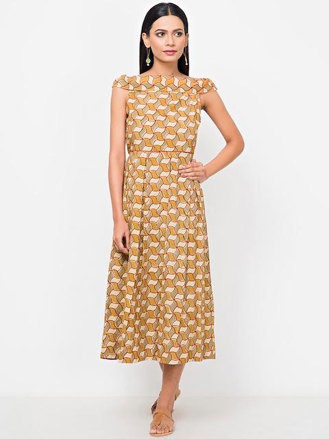 Fabindia Women Mustard Yellow & Beige Kalamkari Print Midi Fit & Flare Dress