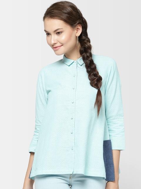 Fabindia Women Blue Self-Design Casual Shirt