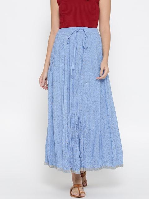 Fabindia Blue Hand Block Print Maxi Flared Skirt