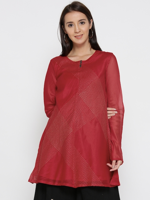 Fabindia Red Embroidered A-Line Tunic