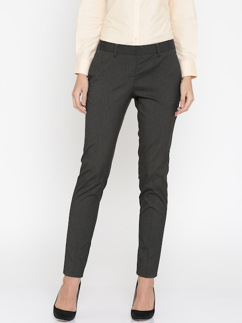 Park Avenue Woman Grey Tapered Fit Solid Formal Trousers