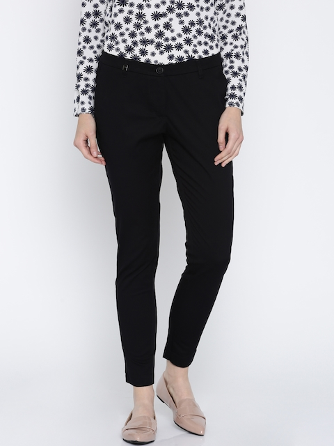 Park Avenue Woman Women Black Tapered Fit Solid Formal Trousers