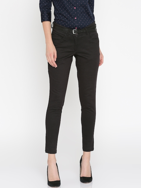 Park Avenue Woman Black Tapered Fit Printed Formal Trousers