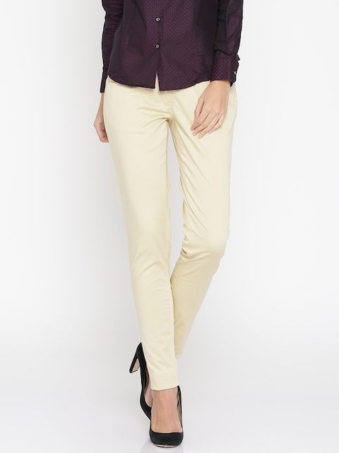 Park Avenue Woman Beige Tapered Fit Solid Formal Trousers